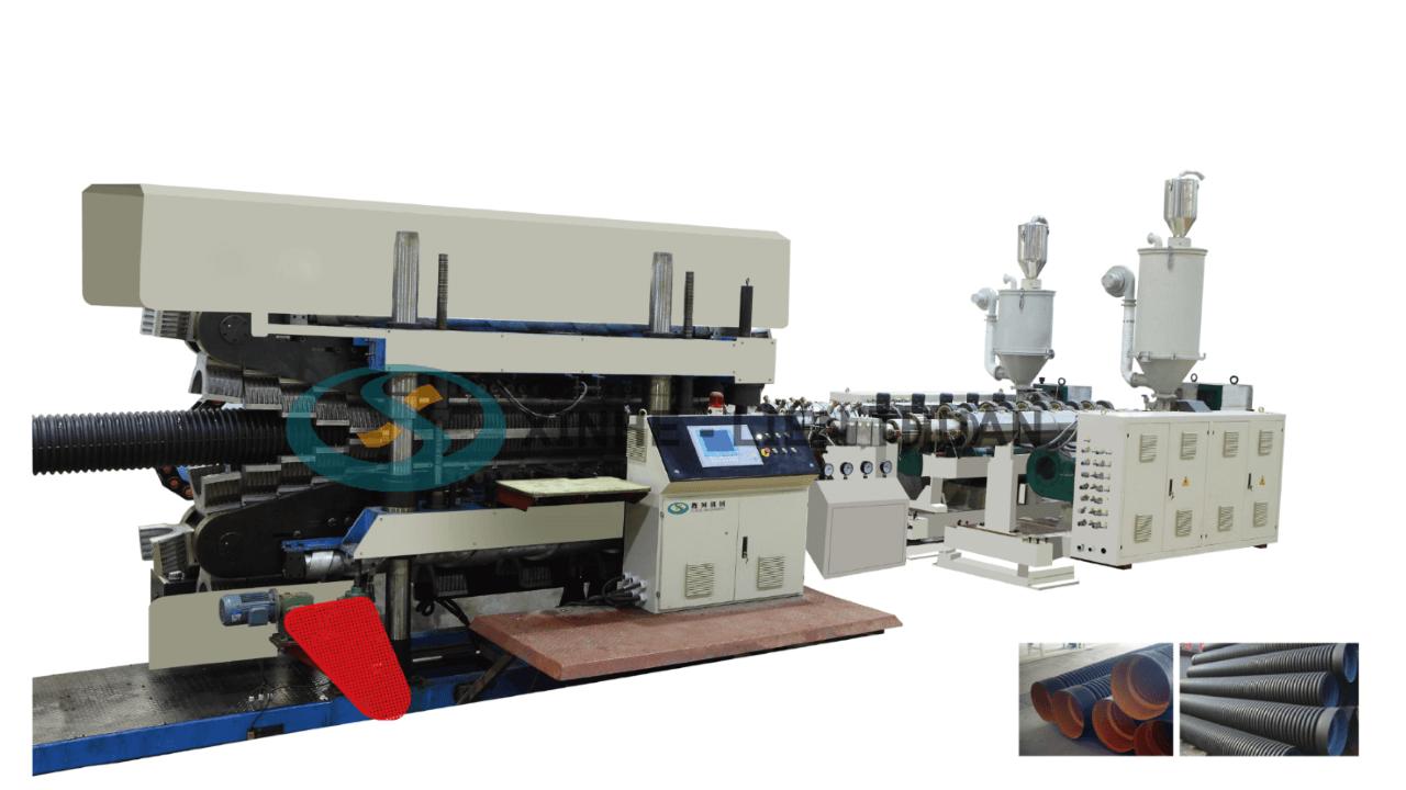 máy sản xuất ống nhựa gợn sóng thành ống kép