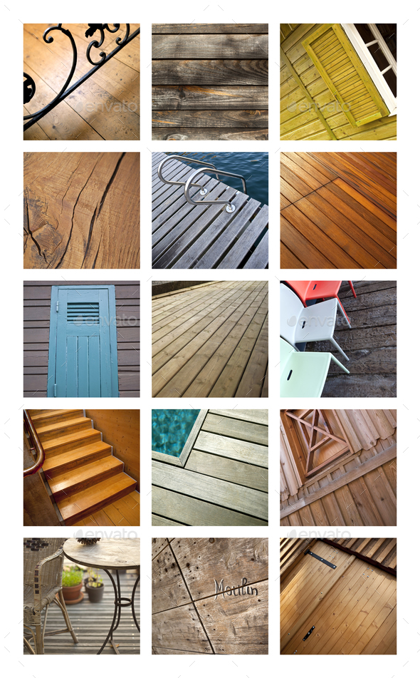 Wooden terraces and floors on a collage