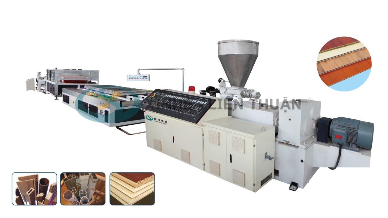 máy sản xuất sàn gỗ nhựa pvc pe